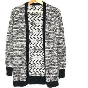 MOSSIMO SUPPLY CO. Black White Open Front Sweater